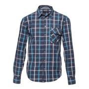 l/s shirt blue tone blue check S [レンズキャップポケット レンズクロス付き 長袖シャツ サイズS ブルー]