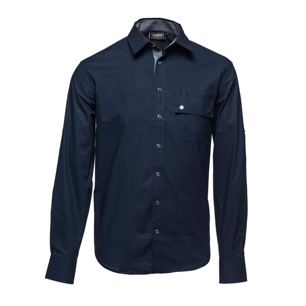 l/s shirt night sky blue XXL [レンズキャップポケット レンズクロス付き 長袖シャツ サイズXXL ブルー]