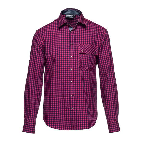 l/s shirt out there red check M [レンズキャップポケット レンズクロス付き 長袖シャツ サイズM レッド]