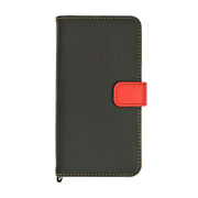 1888IP6SA [iPhone 6/6s用 手帳型ブックタイプケース レザー調 +COLOR ブラック×レッド]