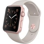 Apple Watch Sport 42mmローズゴールドアルミニウムケースとストーンスポーツバンド
