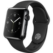 Apple Watch 38mmスペースブラックステンレススチールケースとブラックスポーツバンド