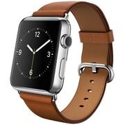 Apple Watch 42mmステンレススチールケースとサドルブラウンクラシックバックル