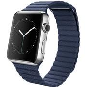 Apple Watch 42mmステンレススチールケースとミッドナイトブルーレザーループ M