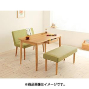 YS-24607 [天然木タモ無垢材ダイニング unica(ユニカ) ベンチタイプ3点セットA(テーブルW115+カバーリングベンチ+ソファベンチ) テーブル:ナチュラル/ベンチ:グリーン/ソファベンチ:グリーン]