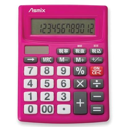 C1234P [傾斜型液晶 12桁表示 ビジネス電卓 ピンク]