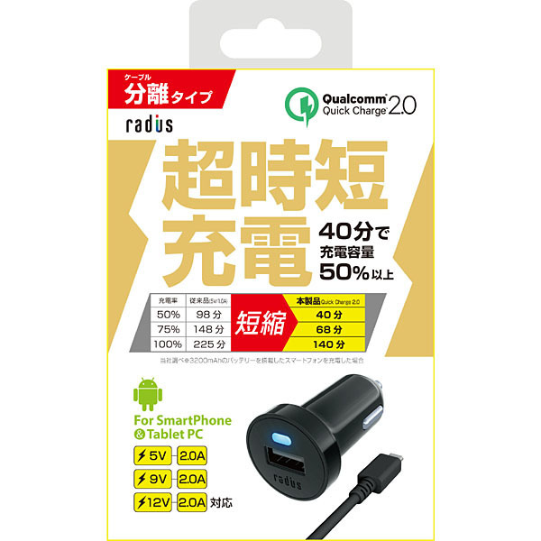 RK-CCQ01K [超時短充電 分離式 Quick Charge 2.0対応 Car Charger + microUSB Cable]