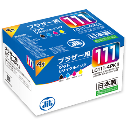 JIT-B1114P [ブラザーLC111-4PK互換 リサイクルインク B,C,M,Y]