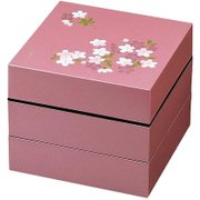 お重・お弁当箱 ランチボックス 宇野千代 オードブル重 3段 あけぼの桜 ピンク