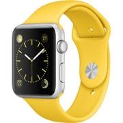 Apple Watch Sport 42mm シルバーアルミニウムケースとイエロースポーツバンド