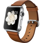 Apple Watch 38mm ステンレススチールケースとサドルブラウンクラシックバックル