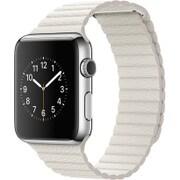 Apple Watch 42mm ステンレススチールケースとホワイトレザーループ - Medium