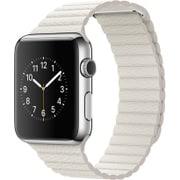 Apple Watch 42mm ステンレススチールケースとホワイトレザーループ - Large