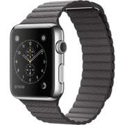 Apple Watch 42mm ステンレススチールケースとストームグレイレザーループ - Medium
