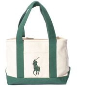 959039A [BRISTOL SCHOOL TOTE MD - IVORY/GREEN]