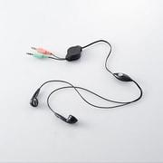 HS-EP14BK [ヘッドセットマイクロフォン 両耳インナーイヤーホン 巻取付 1.0m]