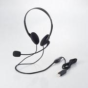 HS-HP27UBK [USBヘッドセット マイクロフォン 両耳小型オーバーヘッドタイプ 1.8m ブラック]