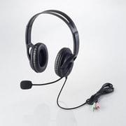 HS-HP28BK [ヘッドセットマイクロフォン 両耳オーバーヘッドタイプ 片出しケーブル 1.8m ブラック]