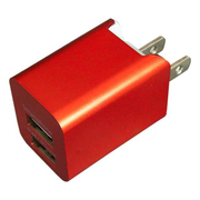 BAC2U24SRD [プレミアムシリーズ AC充電器 2台同時充電 USB2ポート 2.4A レッド]