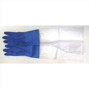 DA-32 [ビニール手袋 サーモ発泡腕カバー付 Lサイズ ブルー]