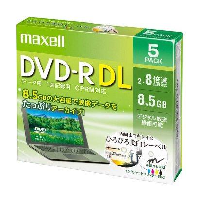 DRD85WPE.5S [データ用 DVD-R DL 2-8倍速対応(CPRM対応) インクジェットプリンター対応 ひろびろホワイトレーベル 8.5GB 5枚]