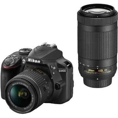 D3400 ダブルズームキット ブラック [ボディ+交換レンズ「AF-P DX NIKKOR 18-55mm f/3.5-5.6G VR」「AF-P DX NIKKOR 70-300mm f/4.5-6.3G ED VR」]