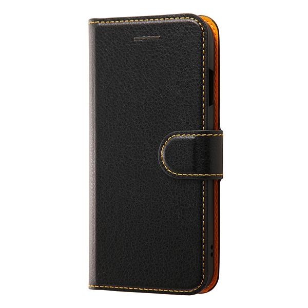 RT-P12ELC1/BOR [iPhone 7用 4.7インチ ケース 手帳型ケース シンプル マグネット ブラック/オレンジ]