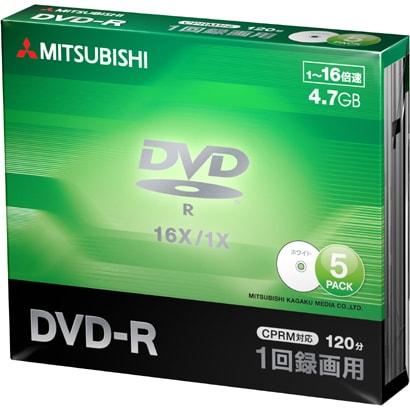 VHR12JP5D1 [DVD-R(Video with CPRM) 1回録画用 120分 1-16倍速 1枚5mmケース(透明)5P インクジェットプリンタ/ワイド印刷エリア対応 ホワイト]