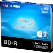VBR130RP3D1 [BD-R(Video) 1回録画用 130分 1-6倍速 1枚5mmケース(透明)3P インクジェットプリンタ/ワイド印刷エリア対応 ホワイト]