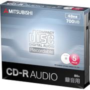 MUR80FP5D1 [CD-R(Audio) 1回録音用 80分 48倍速 1枚5mmケース(透明)5P インクジェットプリンタ/ワイド印刷エリア対応 ホワイト]