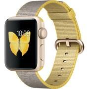 Apple Watch Series 2 - 38mmゴールドアルミニウムケースとイエロー/ライトグレイウーブンナイロンバンド