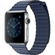 Apple Watch Series 2 - 42mmステンレススチールケースとミッドナイトブルーレザーループ - M