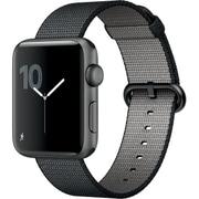 Apple Watch Series 2 - 42mmスペースグレイアルミニウムケースとブラックウーブンナイロンバンド