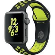 Apple Watch Nike+ - 38mmスペースグレイアルミニウムケースとブラック/ボルトNikeスポーツバンド