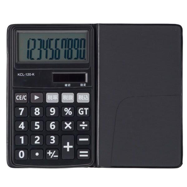 KCL-120-K [電卓10桁 手帳タイプ 黒]