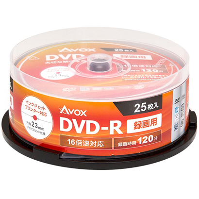 DR120CAVPW25PA [録画用DVD-R 25P スピンドルケース インクジェットプリンター対応 ホワイトレーベル CPRM対応 1-16x]