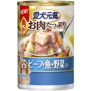 犬用 愛犬元気 缶 角切り ビーフ・魚・野菜入り 375g