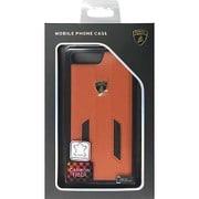 LB-TPUPCIP7P-HU/D6-OE [iPhone 7 Plus 対応 Lamborghini 高級本革バックカバーケース オレンジ]