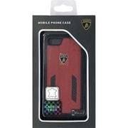 LB-TPUPCIP7-HU/D6-RD [iPhone 7 対応 Lamborghini 高級本革バックカバーケース レッド]