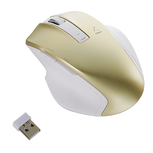 MUS-RKF129GL [BlueLED 無線マウス Z 5ボタン Mサイズ 2.4GHz ゴールド]