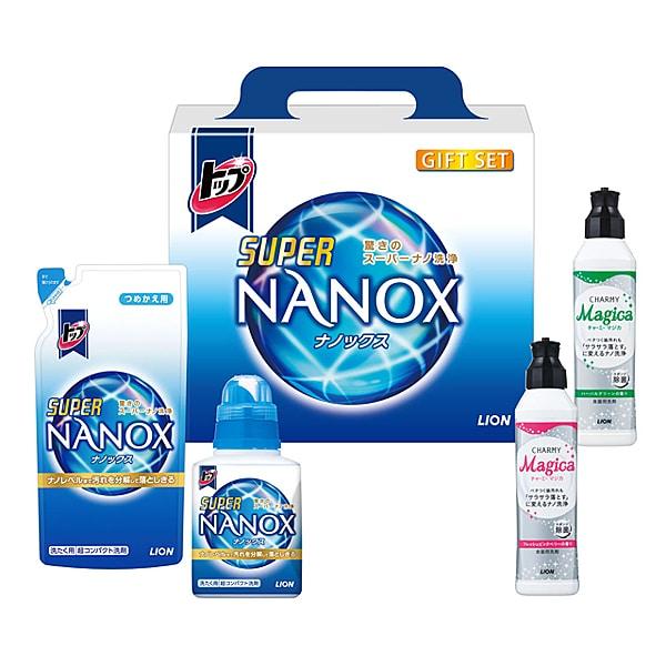 LSN-15V [トップ ナノックス ギフトセット スーパーNANOX 450g(本体)×1本/つめかえ用360g×1袋/CHARMY Magica フレッシュピンクベリーの香り230ml×1本/CHARMY Magica ハーバルグリーンの香り230ml×1本]