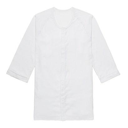 7505-1 らくらく前開き 肌着 紳士 七分袖 ホワイト M