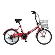 折りたたみ自転車 20型 外装6段変速  17 FD206-CARGO レッド 3355