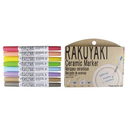 549-1100 [RAKUYAKI export ver.pastel 8color set -えいごのらくやき-パステル8色セット 陶器にかけるマーカー]