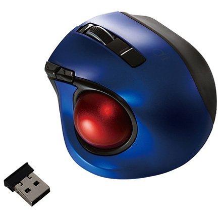MUS-TRLF132BL [レーザー式 小型静音オートスピード 無線トラックボールマウス 5ボタン ブルー]