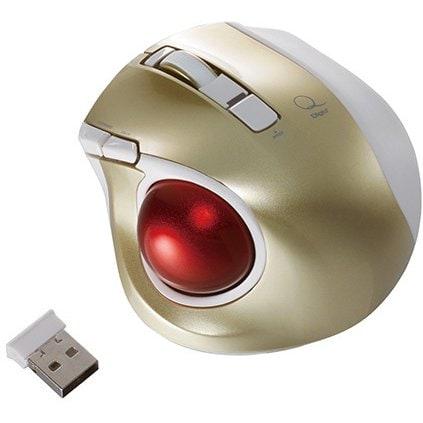 MUS-TRLF132GL [レーザー式 小型静音オートスピード 無線トラックボールマウス 5ボタン ゴールド]