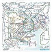 RHSJ [鉄道路線図 ハンカチ 首都圏 日本語]