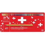 1285-740 [スイスカラー 40色セット 水溶性色鉛筆 レッドメタルボックス]