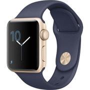 Apple Watch Series 2 - 38mm ゴールドアルミニウムケースとミッドナイトブルースポーツバンド