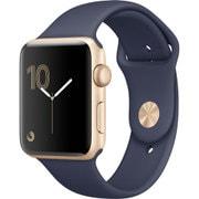 Apple Watch Series 2 - 42mm ゴールドアルミニウムケースとミッドナイトブルースポーツバンド